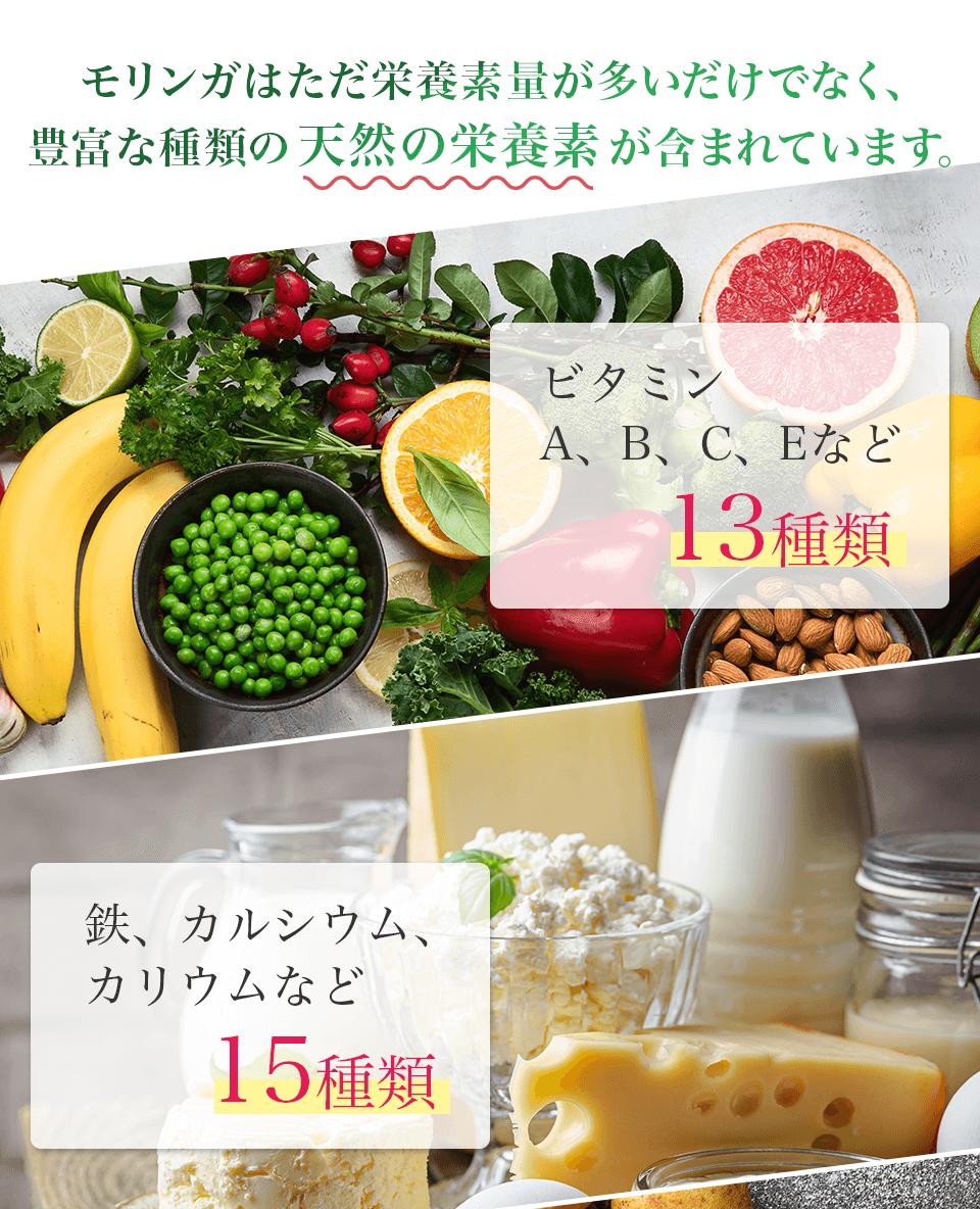 モリンガはただ多くの栄養素量が含まれているだけでなく、非常に多くの天然の栄養素が含まれています。 ビタミンA B C E など13種類 鉄、カルシウム、カリウムなど 15種類